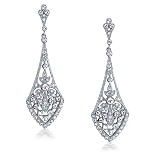 Bling Jewelry Great Gatsby Inspired Deco Teardrop Crystal Bridal Dangle Earrings