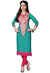 7 Colors Lifestyle Womens Cotton Unstitched Salwar Suit Dress Material (Afbdr3206Pmpa _Turquoise _Free Size)