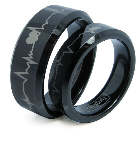Matching Black Comfort Fit Tungsten Carbide Rings