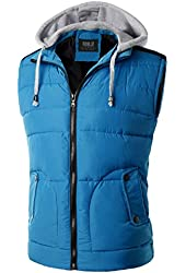 Doublju Mens Padded Puffer Active Bodywarmer Vest with Detachable Hood
