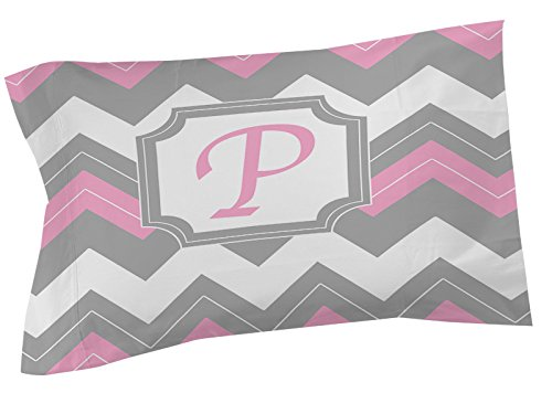 Thumbprintz Pillow Sham, Standard, Monogrammed Letter P, Pink Chevron front-473178