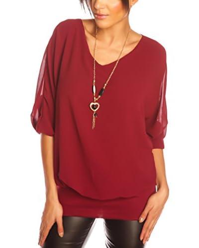 Glamour Paris Blusa Romy Rojo Oscuro S
