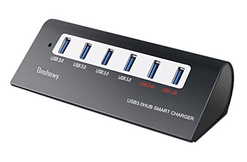 Usb 3.0 Hub With Charging Ports Onshowy Portable Aluminum 6-Port High Speed USB 3.0 Smart Hub With 4 Data Transfer...
