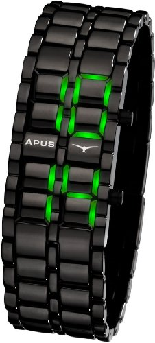 APUS Zeta Black-Green LED Uhr