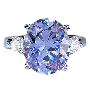 Rizilia Lady Fashion Jewelry Purple Tanzanite White Gold Gp Cocktail Ring 8/Q