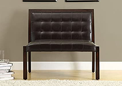 """DARK BROWN LEATHER-LOOK / CAPPUCCINO WOOD 40""""L BENCH (SIZE: 40L X 24W X 36H)"""