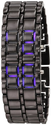 GGI International Men's MLed-Lava-BB Black Stainless Steel Lava Blue LED Digital Bracelet Watch