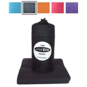 LARGE MICROFIBRE TOWEL Charcoal GREY (Light Black) - 150cm x 80cm - The perfectly sized LITTLE BIG Towel by Luxelu - Highest quality, super soft, fast drying towel in a cool stuff sack carry pack. For Travel, Swimming, Gym, Sports, Camping, Beach, Yoga, Golf (grey)