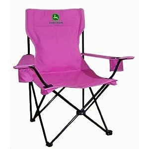 John Deere Folding Adult Camp Chair Pink