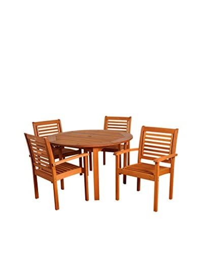 Amazonia Milano 5-Piece Round Dining Set, Brown