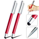 2 x First2savvv new red luxury multi-functional anti slip steel stylus pen for ARCHOS ARNOVA 9 G2 ICS Tablet PC - 8GB