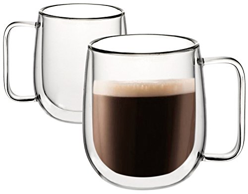 Huada Double Wall Insulated Glass Espresso Cups, Unique Christmas Gift for Coffee Lovers, 10 Oz, Set of 2 (Double Sided Shot Glass compare prices)