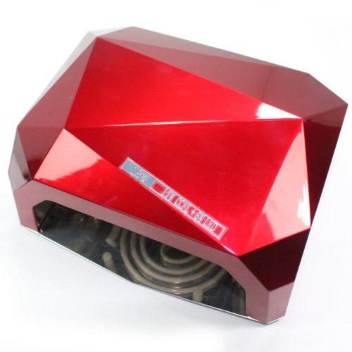 18W Nail Art Led Uv Gel Cure Curing Nail Lamp Nail Dryer Timer Gelish Polish Tool 110 220V (Red)
