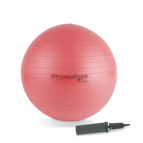 PhysioRoom Gym Swiss Yoga Ball Anti Burst 75cm Fitness With FREE Dual Action Pump