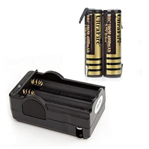 UltraFire BRC 18650 3.7V 4000mAh Li-ion Rechargeable Batteries Battery 2 Pack + Charger