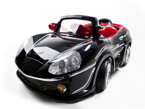 Kids Battery Power Black Ride on Car Sport Wheels with MP3 Connection and Radio Remote Control PLEASE NOTE CAR IS BLACK WITH SILVER TRIM)