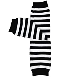Wrapables Colorful Baby Leg Warmers - Thin Stripes Black & White