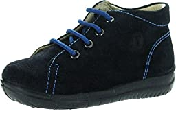 Falcotto Boys 4891 First Walker Lace Up Bootie Shoes,Velour Blue,22
