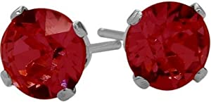 0.70Ct. Genuine 4mm Round Ruby 14 Karat White Gold Stud Earrings
