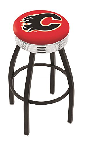"25"""" L8B3C - Black Wrinkle Calgary Flames Swivel Bar Stool with Chrome 2.5"""" Ribbed Accent Ring-By BlueTECH"