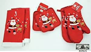 """Santa & Reindeer"" Red Christmas Theme Kitchen Accessories Set Of 6 (Includes 2 Pot Holders, 2 Oven Mitts & 2 Towels) BONUS Non-monetary Jack Skellington Bill Included"