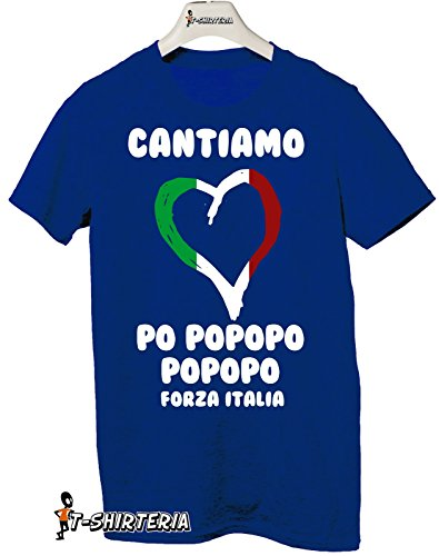Tshirt CANTIAMO PO POPOPO FORZA AZZURRI - NAZIONALE ITALIANA - EUROPEI 2016 - Tutte le taglie by tshirteria