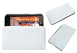 Acm Rich Leather Soft Case For Zen Ultrafone 402 Mobile Handpouch Cover Carry White