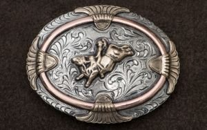 AndWest Vintage Collection Antiqued Silver With Gold Bull Rider