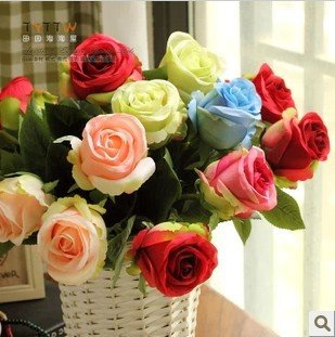 10pcs/lot fashion quality artificial flower dining table decoration flower Simulation roses silk flower