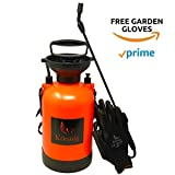 Könnig 1.3 Gallon Pump Action Lawn, Yard and Garden Pressure Sprayer for Chemicals, Fertilizer, Herbicides and Pesticides with BONUS a Pair of Garden Gloves (1.3 and 0.8 Gallon sprayers)