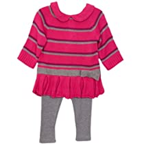 BT Kids Newborn Baby Girls 2 Piece Pink Striped Knit Tunic Sweater Leggings Set