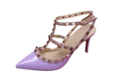 wanmi pupms da donna con cinturino caviglia ROCKSTUD Viola brevetto in pelle sandali lavoro ufficio scarpe tacchi alti, donna, Purple, 37