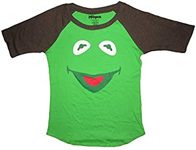 The Muppets Kermit The Frog Face Juniors Raglan T-Shirt
