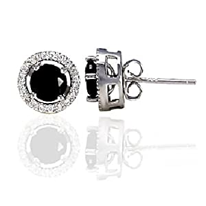 Sterling Silver Removeable 10mm Halo Earring Jacket with 6mm Black Russian Ice on Fire Cast Basket Stud Earring Set, Laura, 1.70 carats