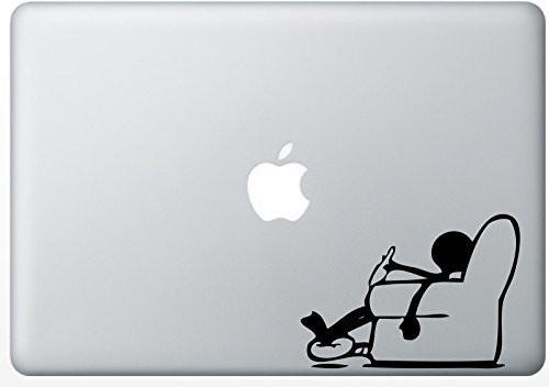 RELAXING MAN LAPTOP STICKER IPAD TABLET FUNNY VINYL GRAPHIC DECAL