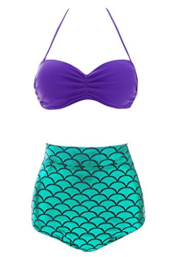 Mermaid Vintage Pinup High Waisted Bikinis Plus size Women 2 Piece Swimsuit, XXL, Color 1