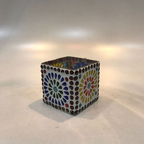 Dlite Crafts Multicolor Polka Design Home Decorative Votive Candle Holder, Set Of 2 PCs - B06XYKM1YC