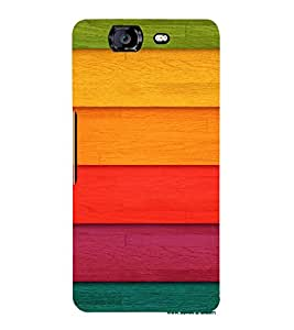PrintVisa Colorful Wood Pattern 3D Hard Polycarbonate Designer Back Case Cover for Micromax Knight A350