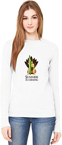 Summer Is Coming T-Shirt da Donna a Maniche Lunghe Long-Sleeve T-shirt For Women  100% Premium Cotton  DTG Printing  XX-Large