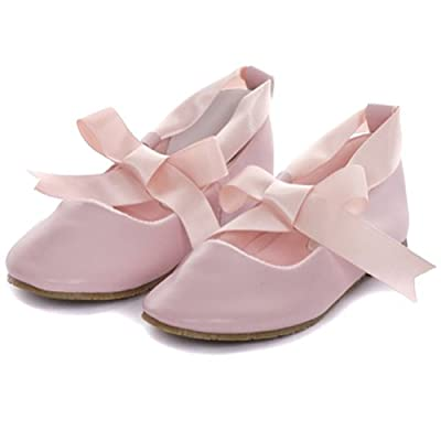 Kids Dream Pink Ballerina Ribbon Tie Rubber Sole Shoes Baby Girl 3-10
