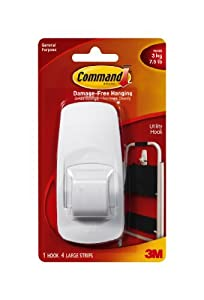 Command Jumbo Plastic Hook with Adhesive Strips, 1-Hook