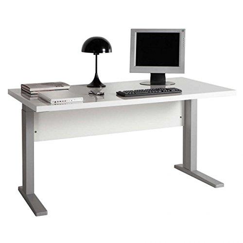 Scrivania gambe metallo in kit colore bianco laccato lucido cm 150x80x76