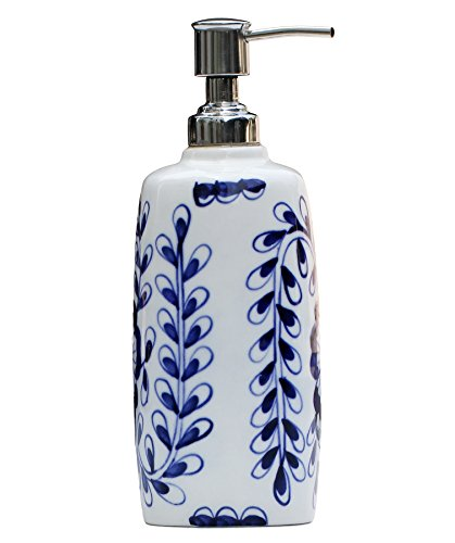 Soap Dispenser Blue And White Ceramic Liquid Pump Lotion Dispenser Holder With Easy Aluminum
