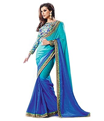 Janasya Women's Georgette Saree (JNE0670_Sky Blue_Free Size)