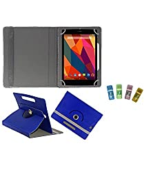 Gadget Decor (TM) PU Leather Rotating 360° Flip Case Cover With Stand For EVU 4.2 Capacitive Tablet + Free USB Card Reader - Dark Blue