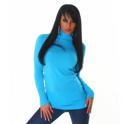 Jela London Damen Pullover Minikleid Rollkragen Einheitsgröße 32,34,36,38 - verschiedene Farben