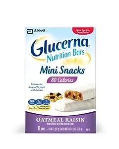 Glucerna Mini Snack Nutrition Bars, Oatmeal Raisin, 0.70-Ounce, 36 Count