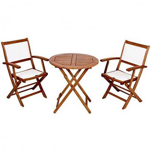 Balkonset PANAMA Klappstuhl Textilbespannung geölt Stuhl+Tisch rund Eukalyptus Holz Sitzgruppe NEU kaufen