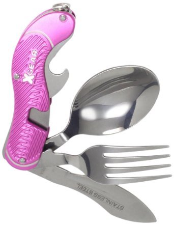 X-Gear Sproket Series Pink Camper Tool Pocket Utensils Stainless Blade Approx 4""