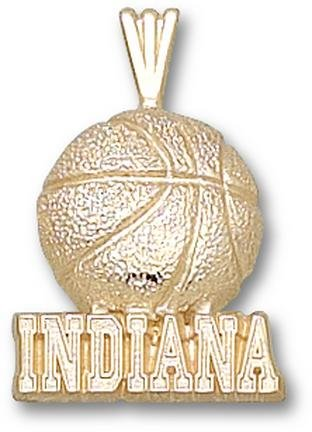 Indiana Hoosiers Indiana Basketball Pendant - 14KT Gold Jewelry by Logo Art